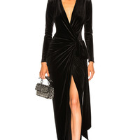 Alexandre Vauthier Velvet Wrap Dress in Black | FWRD