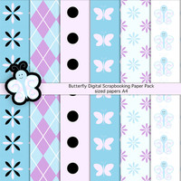 Spring Butterfly Scrapbooking Paper Goods, Photoshop Patterns