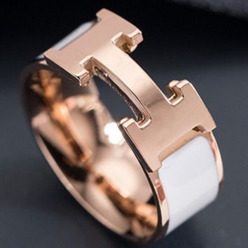 Hermes ring for female hipster personality rose gold titanium ring air decorative ring collar