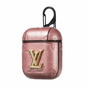 LV Fashion Popular AirPods Bluetooth Wireless Earphone Case Protector (No Headphones) Pink