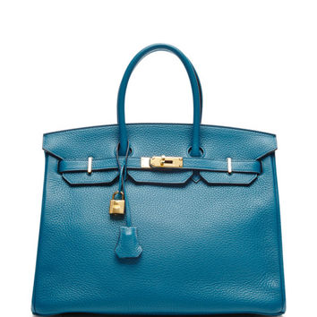Hermes 35Cm Blue Izmir Clemence Birkin by Heritage Auctions Special Collection - Moda Operandi