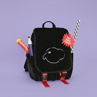 Tyakasha Planner Black Elephant Fuzzy Embroidery Backpack