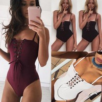 Cantina Lace Up Bodysuit (Black, White, Burgundy)