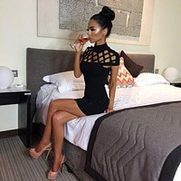 Summer Women Sleeveless Bandage Bodycon Evening Party Cocktail Mini Dress (Black)