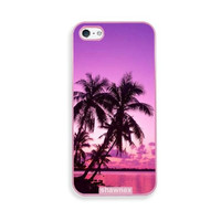 Shawnex Tropical Palm Trees Sunset Beach Pink Plastic iPhone 5 & 5S Case - Fits iPhone 5 & 5S