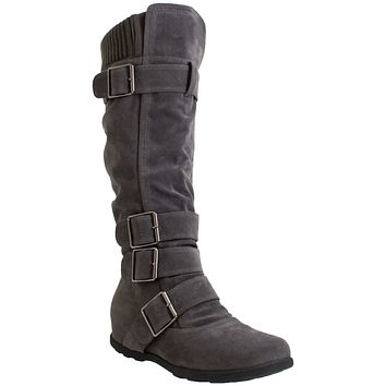 Generation Y Women's Knee High Boots Strappy Adjustable Buckle Combat Charcoal Suede