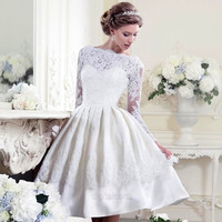 White Women Ladies Lace Pleated Backless Prom Ball Wedding Cocktail Dress  D_L = 1713251012