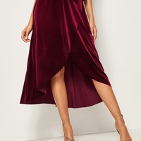 Wrap Tie Side Velvet Skirt
