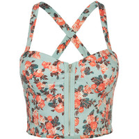 Full Tilt Floral Zip Front Corset Mint  In Sizes