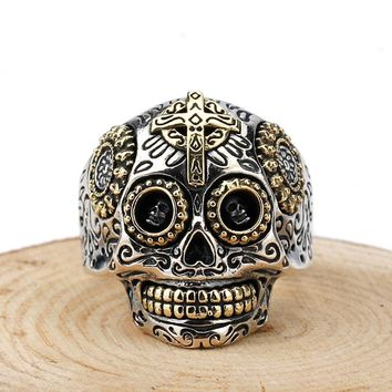 Skull Skulls Halloween Fall Gothic Mexican Sugar  925 Sterling Silver Rings Day of the Dead Vintage Carved Skeleton Cross  for Men Women Fine Jewelry Calavera