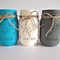 Mason Jars, Home decor, Painted Mason Jar, Housewares, Centerpiece, Table Centerpiece, Bathroom Decor, Rustic Home Decor, Shabby Chic Decor