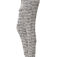 The Challis Pant in Black and White Tribal Print