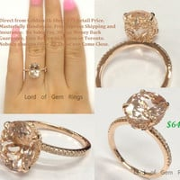 Oval Morganite Engagement Ring Pave Diamond Wedding 14K Rose Gold 9x11mm  Prong Set