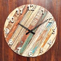 Rustic & Antique Non-Ticking Round Wall Clock of Reclaimed Wood - Lime Polish