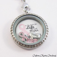 """New Custom Pink Ribbon Breast Cancer Awareness """"In this battle for Life I will Never Stop Fighting"""" 5 Piece Floating Plate & Charms for 30mm Lockets"""