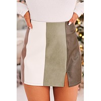 She's The One Faux Leather Mini Skirt (Sage/Multi)
