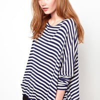 Blue Striped Long-Sleeve Top