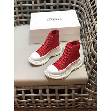 Alexander McQueen2021 Trending Women's men Leather Side Zip Lace-up Ankle Boots Shoes High Boots09180cx