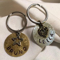 Animal Collar accessories / dog  ID tags / cat ID tags / handstamped / personalized Animal ID Tag / pet accessories / handmade id tags
