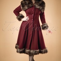 30s Pearl Coat in Wine Wool