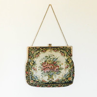 50s 60s vintage purse / small pocket book / floral tapestry bag / clutch bag floral 60s does 20s purse