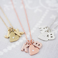 Double Chunky Letter Heart Necklace