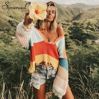 Simenual Rainbow stripe sweater for women fringe deep v neck sexy fashion jumper crop pullover female autumn winter knit clothes
