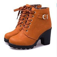 Classic Retro Women Stylish Platform High Heel Single Shoes Motorcycle Boots Martin Boots Brown I/A
