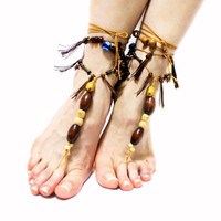 Woodland Tassel Barefoot sandals, Fairy, Tribal ANKLETS, Natural, Bohemian, Organic Jewelry Toe Anklets Ankle wrap sandal, footless sandals