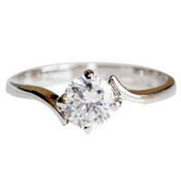 Fashion Plaza Black Friday Christmas Gift Engagement Ring with Cubic Zirconia -4 Claw Setting R265