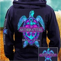 Country Life Outfitters Southern Attitude Snappy Turtle Anchor Bow Navy Vintage Girlie Bright Pullover Shirt Hoodie