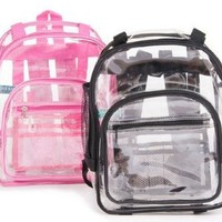 The Clear Bag Store - Super Heavy Duty Clear Backpack - 3 Sizes Black or Pink