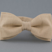 Ivory Bow Tie for Men Linen Bow Tie Men's Bow tie Wedding Bow Tie Beige Bow Tie Gift for Groomsman Groom Bow Tie Gift Father in Law