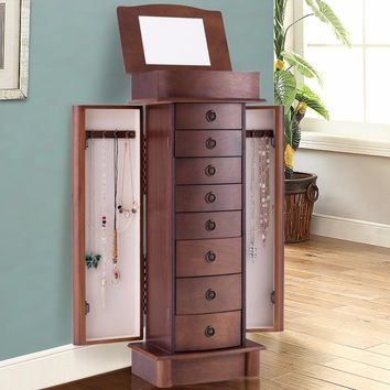 Giantex Jewelry Cabinet Armoire Storage Chest Box Stand Organizer Wood Christmas Gift Home Furniture HW56420