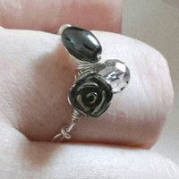 Black Silver Ring, Handmade Jewelry, Wire Wrapped, Gemstone, Black Rose, Pyrite, Multigemstone, Gothic, Rock, Black Ring, Multi Gemstone
