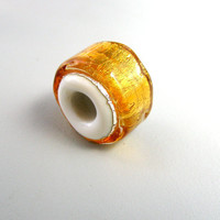 handmade lampwork Large Hole Charm Bead Gold by TheBeadYouNeed
