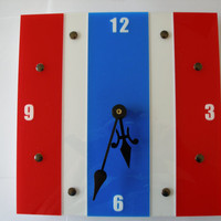 Patriotic clock red white and blue stripe 10 inch acrylic wall clock Clock ID 1