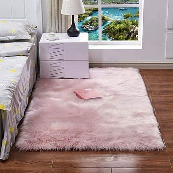 Super Soft Rectangle Faux Sheepskin Fur Area Rugs for Bedroom Floor