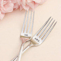 Wedding Fork Set Hand Stamped Mr and Mrs Forks by BeachHouseLiving