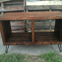 Honey double section box, record holder, vynil storage, entertainment center, media stand
