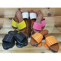 Pazzle Spiked Slip On Flat Summer Sandals Neon Colors W/ Spikes 7-11