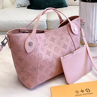LV New fashion monogram print leather shoulder bag handbag two piece suit Pink