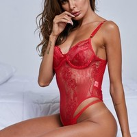 Chic Red Yummy Scalloped Lace Teddy Lingerie