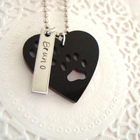 Paws In My Heart Hand Stamped Personalized Keychain  Made To Order Choose color