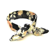 Floral Bun Crown Top Knot Tie Wired Hair Accessory Ponytail Wrap Wrist Wrap Bun Wrap Black Cream Peach Women Hair Accessory Ready to Ship