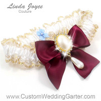 White and Burgundy WEDDING GARTER Bridal Lace Garter 112 White 332 Wine Maroon Red Gold Prom Garter Plus Size & Queen Size Available too
