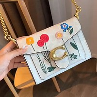 100000 COACH New Tabby Embroidered Flower Chain Bag Shoulder Bag Crossbody Bag