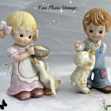 Homco Bisque Porcelain Handpainted Figurines Boy with Lamb Girl with Goose Vintage