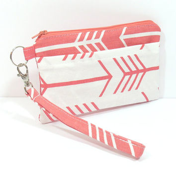 White and Coral Arrow Phone Clutch, Clutch with Wristlet, Coral Arrows Bag, Arrow Wristlet, Wristlet for Phone, Cell Phone Holder, Clutch