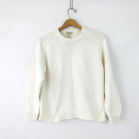 White Cotton Knit Sweater Clean White Boxy Preppy Pullover Jumper Plain Basic Raglan Sleeve Sweater Womens Size Small Fit Medium Large